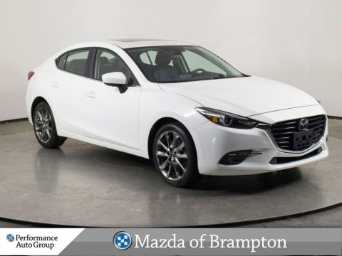 Pre-Owned 2018 Mazda3 GT. LEATHER. NAVI. CAMERA. HTD SEATS. ROOF